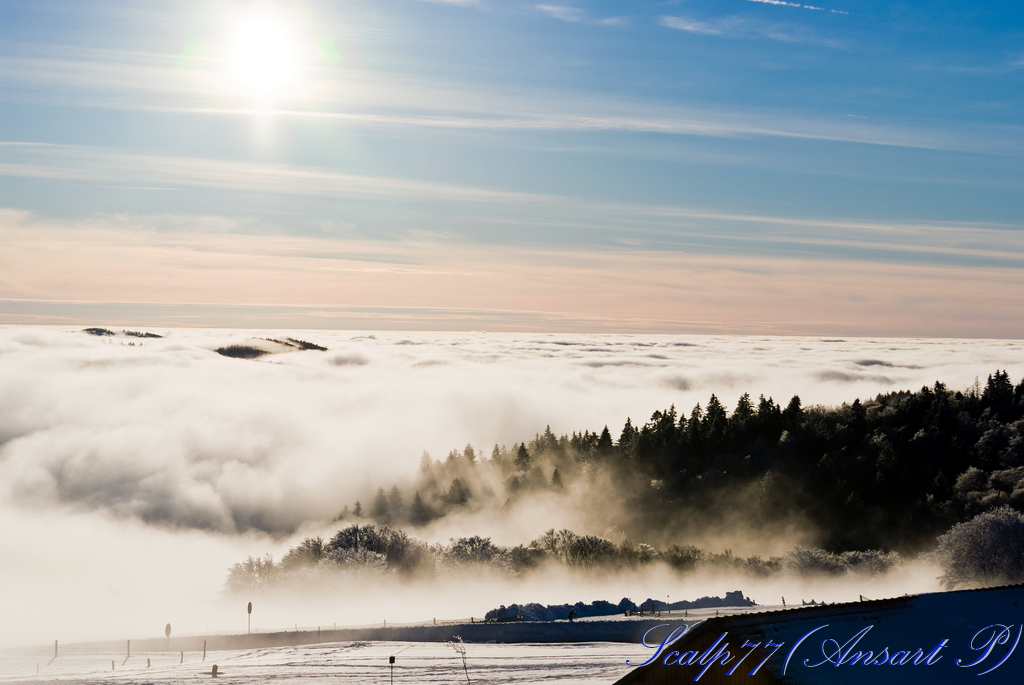 Au sommet du Baloon d'Alsace, au dessus des nuages