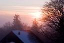 Couché de soleil au ballon d'alsace sous la neige